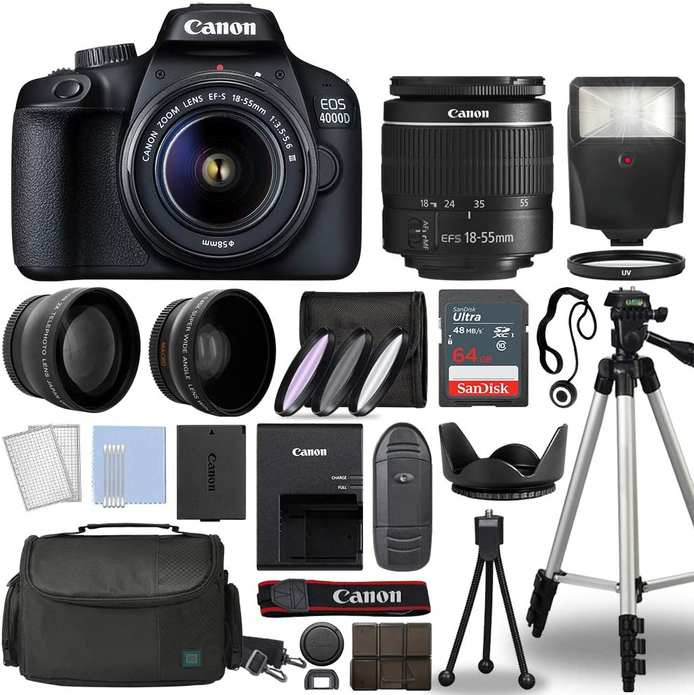 Canon EOS 4000D / Rebel T100 Digital SLR Camera Body w/Canon EF-S 18-55mm f/3.5-5.6 Lens 3 Lens DSLR Kit Bundled with Complete Accessory Bundle + 64GB + Flash + Case & More - International Model