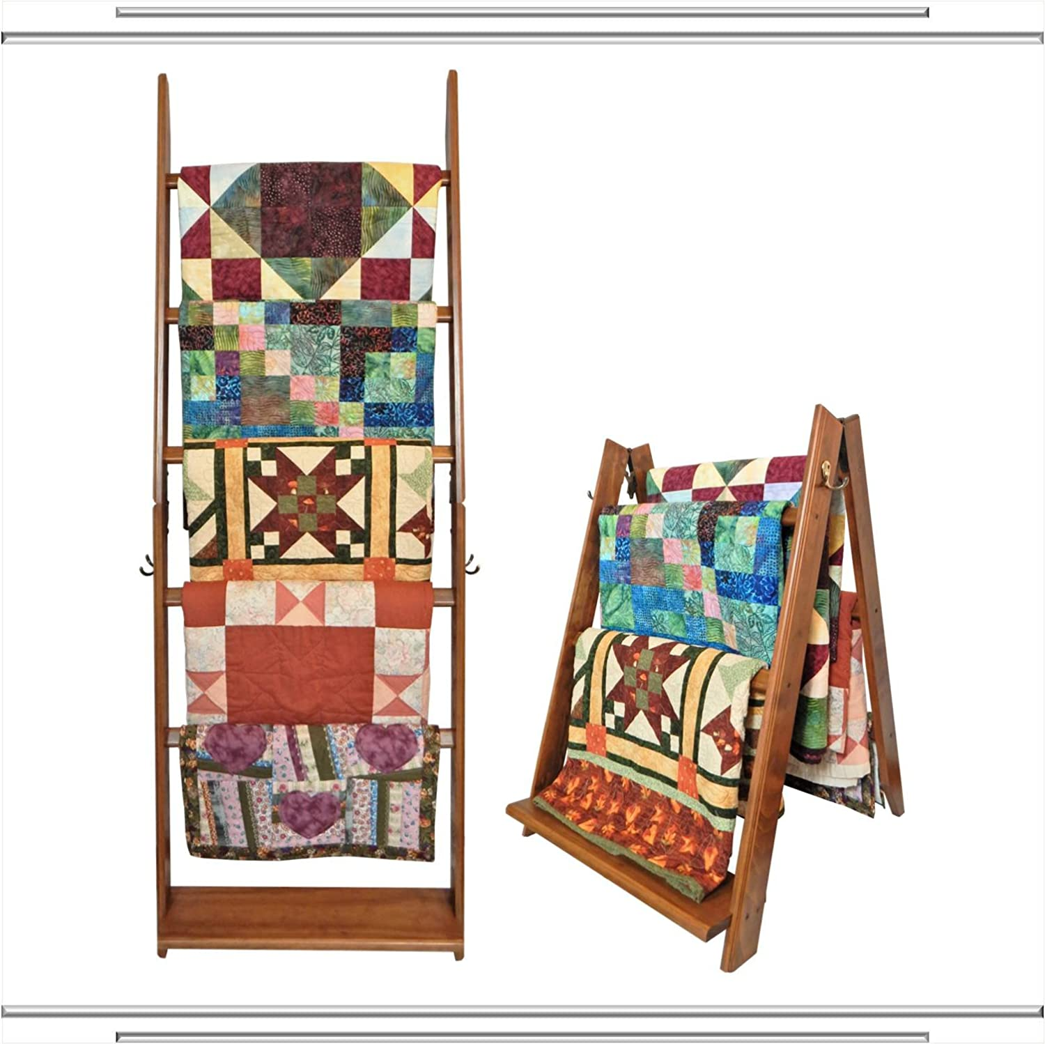 The LadderRack 2-in-1 Quilt Display Rack (5 Rung/30 Model/American English) Built by Briick Quilting QLR-50630