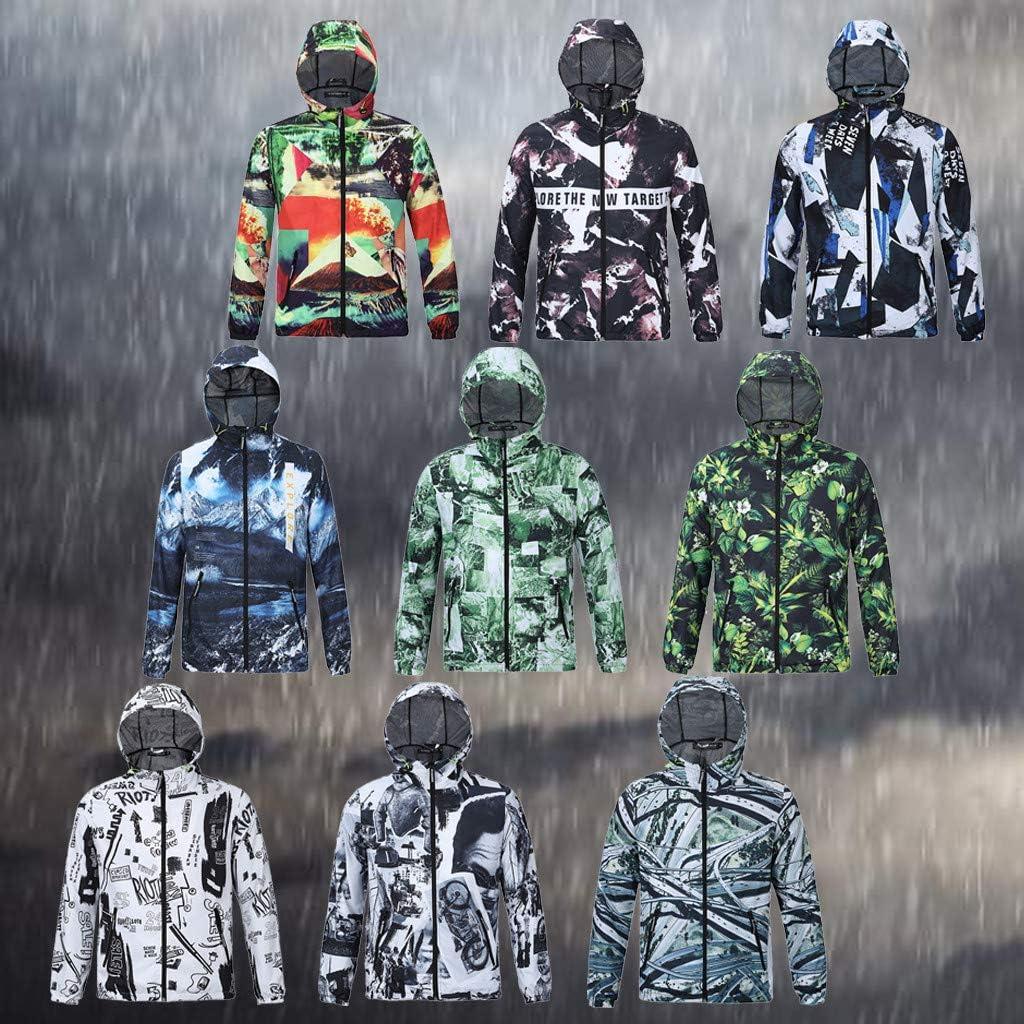 GREFER Outwear Fashion 3D Pattern Jacket Casual Long Sleeve Mountaineering Hooded Breathable Waterproof Jackets Coat