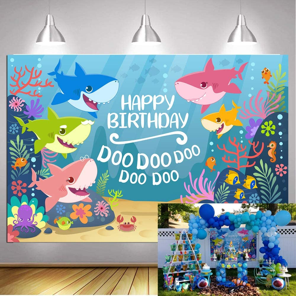 GYA 7x5ft Cute Bady Shark Birthday Theme Backdrop for Photography Under The Sea Baby Shower Birthday Party Background