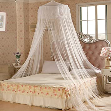 Elegent Princess Mesh Bed Netting Canopy Round Dome Hanging Mosquito Net Summer for Home Travel White