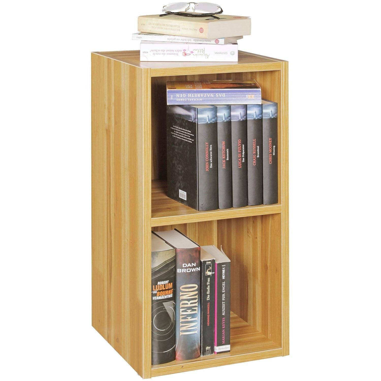 Standregal Lara buche für Bücher 2 Fächer MDF-Holz Design Aufbewahrungsregal Modernes Flur-Holzregal Kleines Regal offen HxB:60x30cm Buche