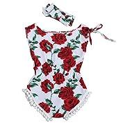 bestpriceam Baby Clothes, Newborn Toddler Printing Bodysuit Romper Jumpsuit (6-12M, Rose Red)