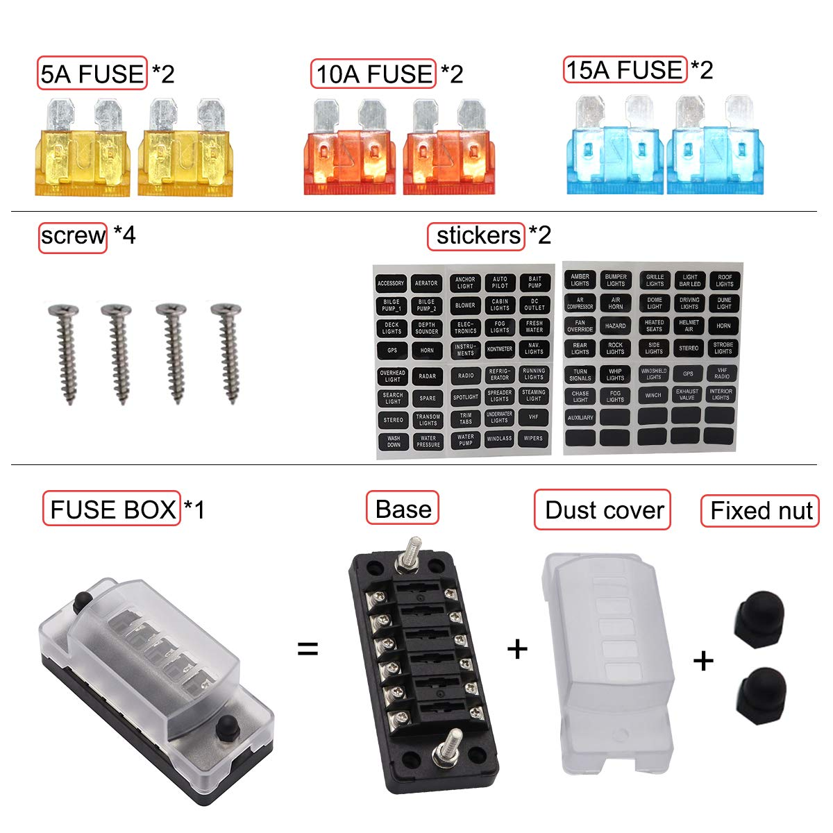 6 Way Fuse Block for Boat Marine Car Camper Travel Trailer RV Motorhome Solar System Fuse Box 12V 32V DC Regular Fuses 5A 10A 15A PA66 Material