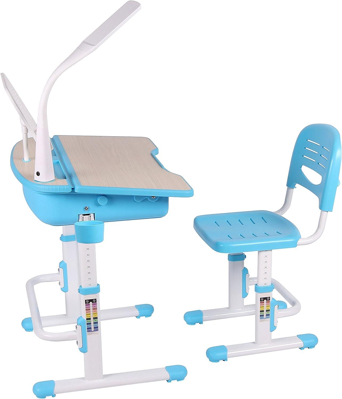 Leomark Ergonomisch Kinderschreibtisch SMART//Blaue Farbe//Schreibtisch und Stuhl h/öhenverstellbar mit Schublade LED Lampe Band kostenlos zus/ätzlich LED