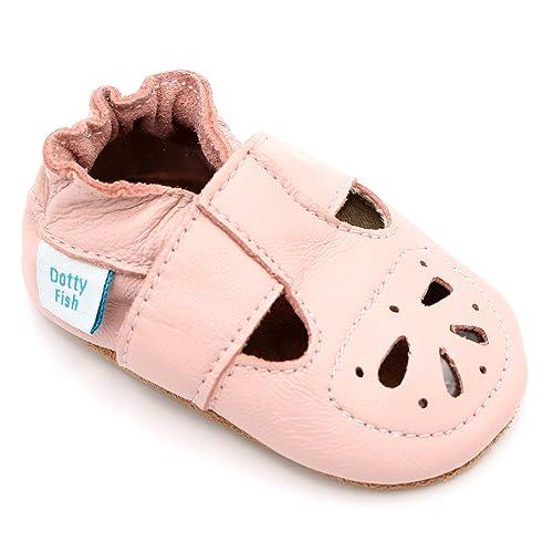 61bc4a04 Zapatos para bebé Flexibles para Las niñas con Suela de Ante-Dotty Fish-Palo