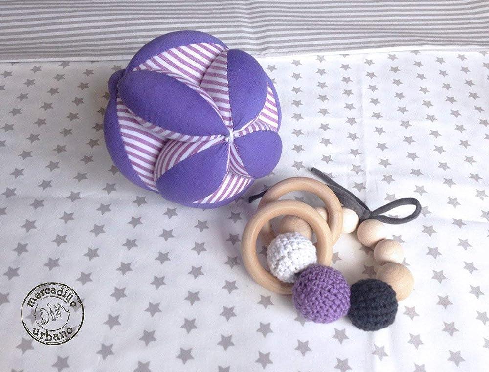 KIT 2 Regalos para bebés, Pelota infantil y sonajero de madera ...