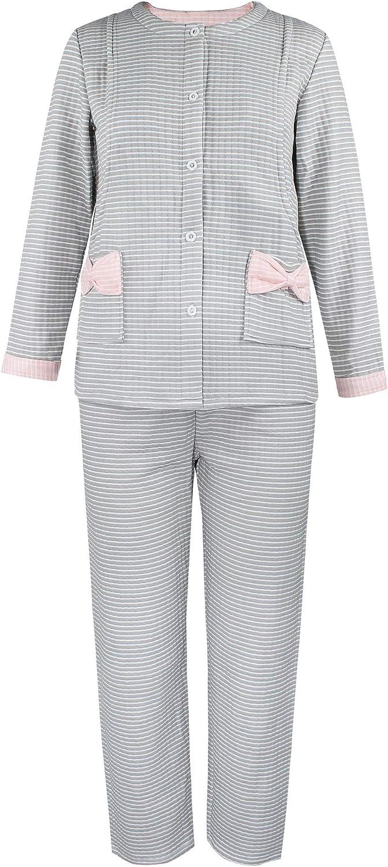 iloveSIA Damen Stillpyjama aus Baumwolle Stillen Schlafanzug Lang Warm Rosa Grau