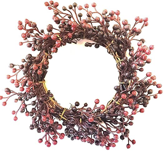 Primitive Country Floral Vine BURGUNDY PIP BERRY GARLAND RUSTY STARS