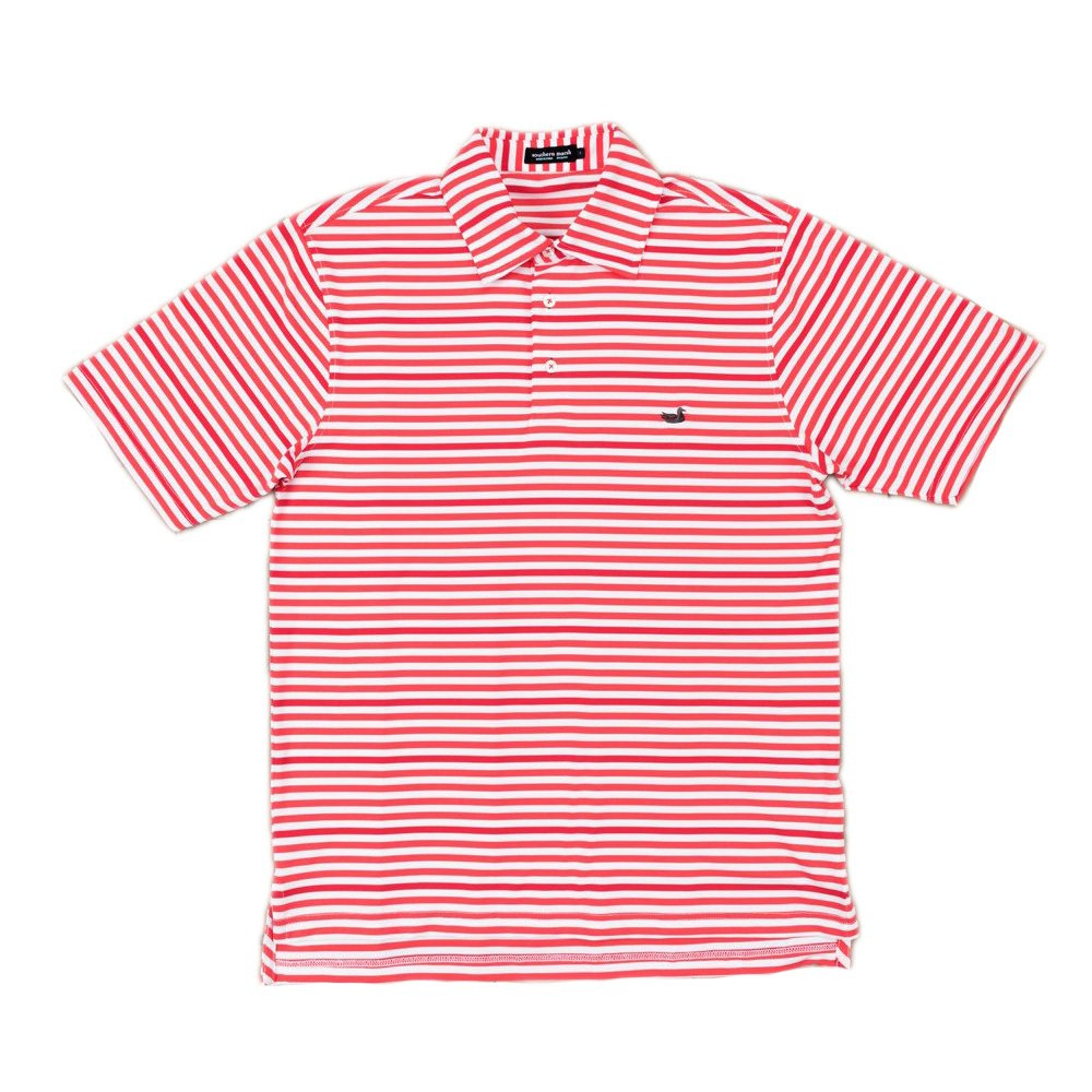 YPNMS-RDWT Southern Marsh Youth Newberry Performance Polo in Red and White Red and White