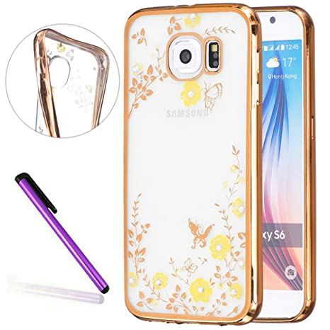 huge discount 82995 3eab3 S7 Case Samsung Galaxy S7 Case EMAXELER Bling Swarovski Crystal Rhinestone  Diamond Plating Frame Flexible TPU Case for Samsung Galaxy S7 Butterfly &  ...
