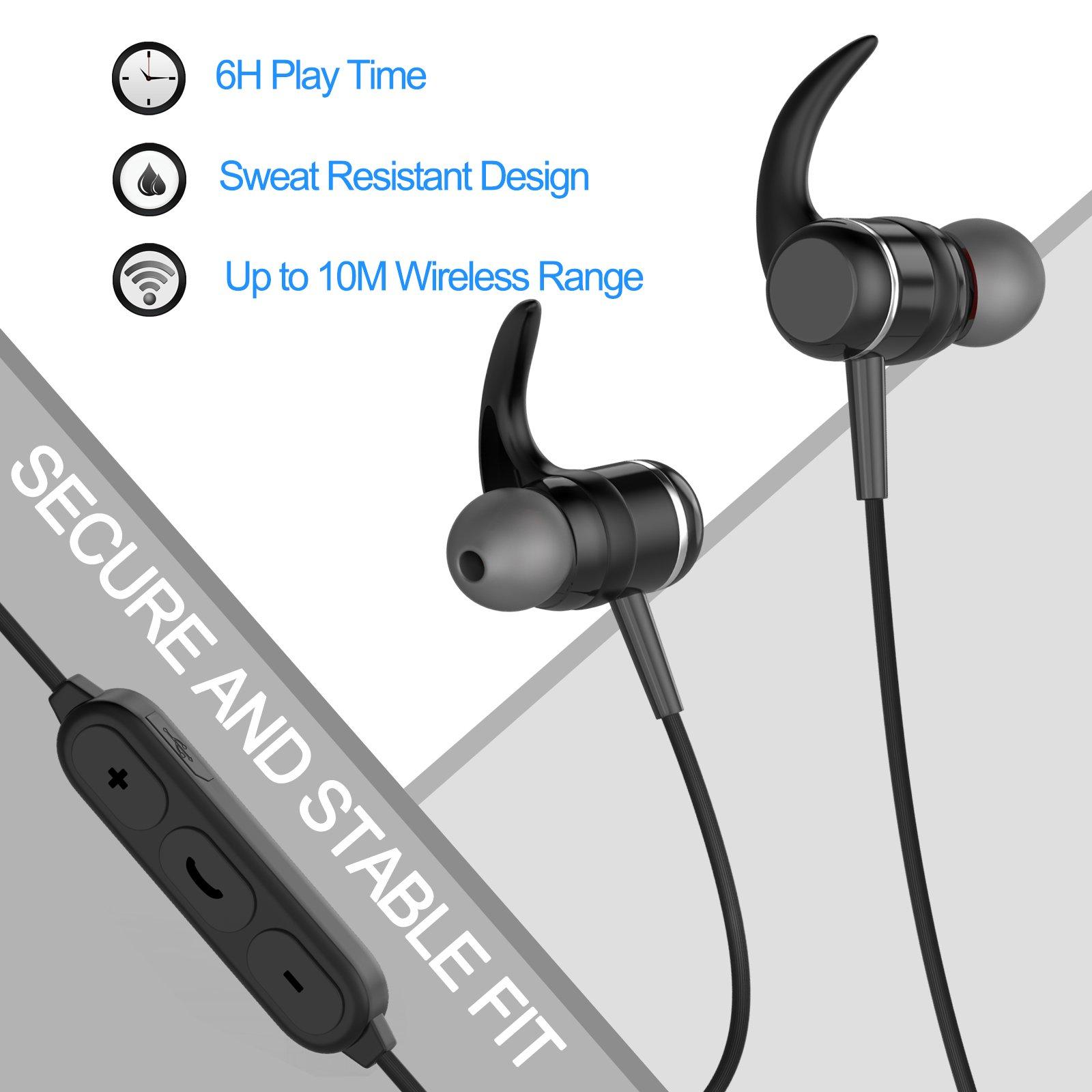 Bluetooth 4.1 Headphones, Sports Earphones w/Mic, Waterproof HD Stereo Earbuds for Gym Running by LIREION (Image #5)