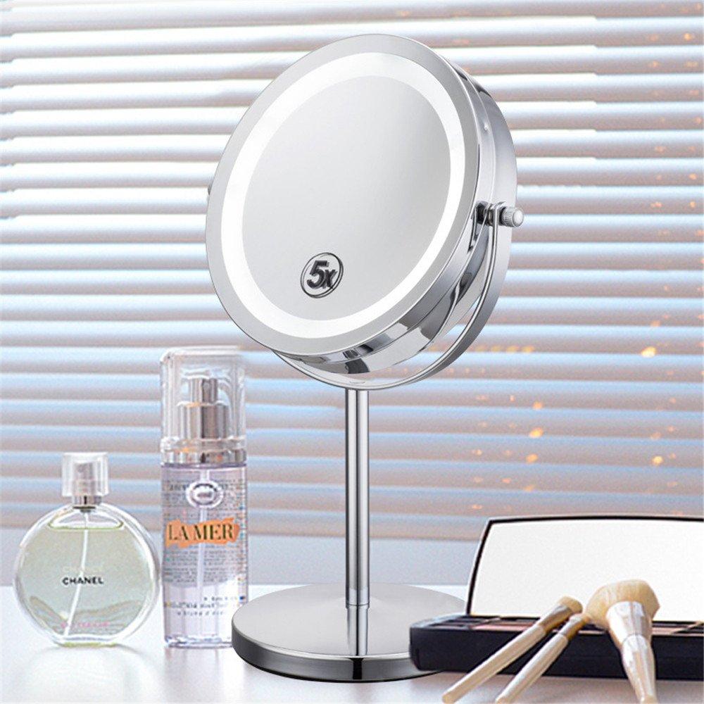 13cm 17 NONGNIML Miroirs de Table,Bureau Métal Miroir Miroir grossissant réversible Petit Miroir tournant grossissement 5X Fonction 33