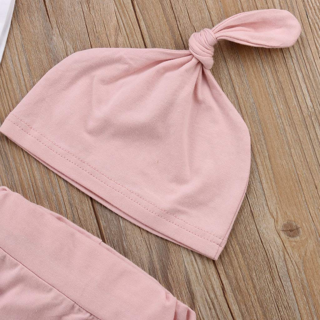 4PCS Newborn Baby Girl Short Sleeve Cotton Romper Tops+Long Pant Trouser Hat Headband Outfits Clothing Set