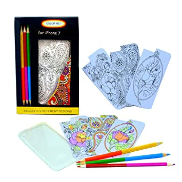 Coloring Pages For Phone Case Of IPhone 7 With 3 Double Ended Color Pencils Lolifun LPC009