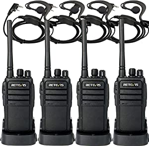 Retevis RT21 Updated 3000mAh 2 Way Radios Walkie Talkies Long Range with Earpiece, Two Way Radios Rechargeable, 16CH Handheld Radios for Cruise Camping and Events(4 Pack)
