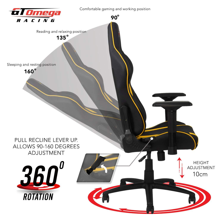 GT OMEGA Pro Silla de Juego Racing con Soporte Lumbar Silla de Oficina Ergonómica de Cuero con 4D Reposabrazos Ajustable y Respaldo Reclinable - ...