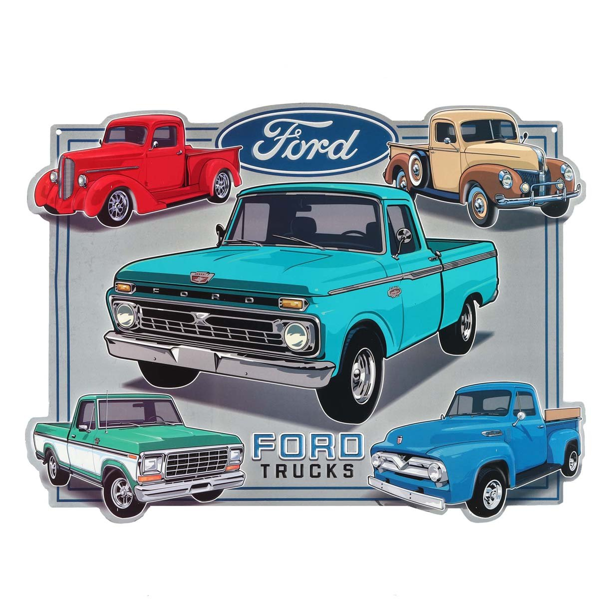 Open Road Brands Ford Trucks Collage Embossed Garage Tin Sign Vintage Style, 13'' W
