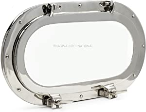 Nagina International Brass Heavy Solid Premium Polished Oval Porthole Mirror   Pirate's Exclusive Ship's Decor Gifts & Collectibles (Aluminum, 19 Inches)