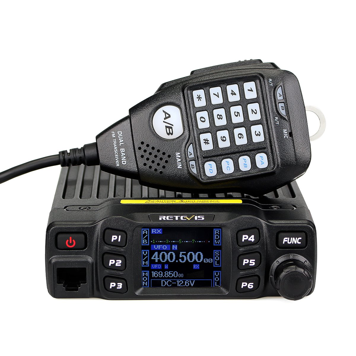 Retevis RT95 Mobile Radio Dual Band Transceiver VHF 136-174 MHz UHF 430-490  MHz 25W Color LCD Mobile Two Way Radio with DTMF Function (Black, 1 Pack)