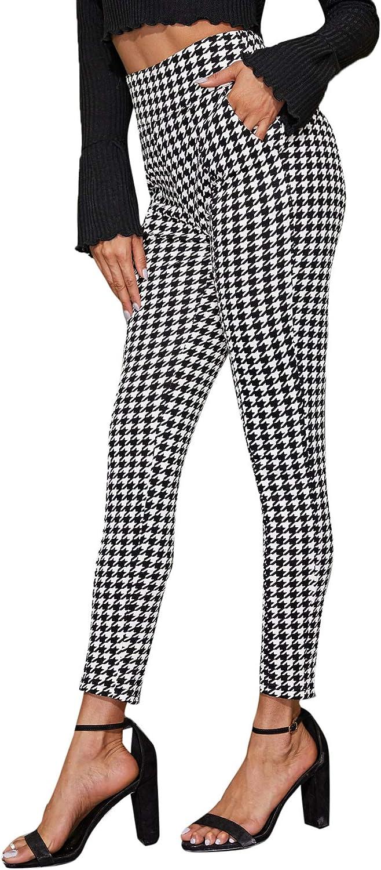 SweatyRocks Women's Casual Plaid Leggings Stretchy Work Pants