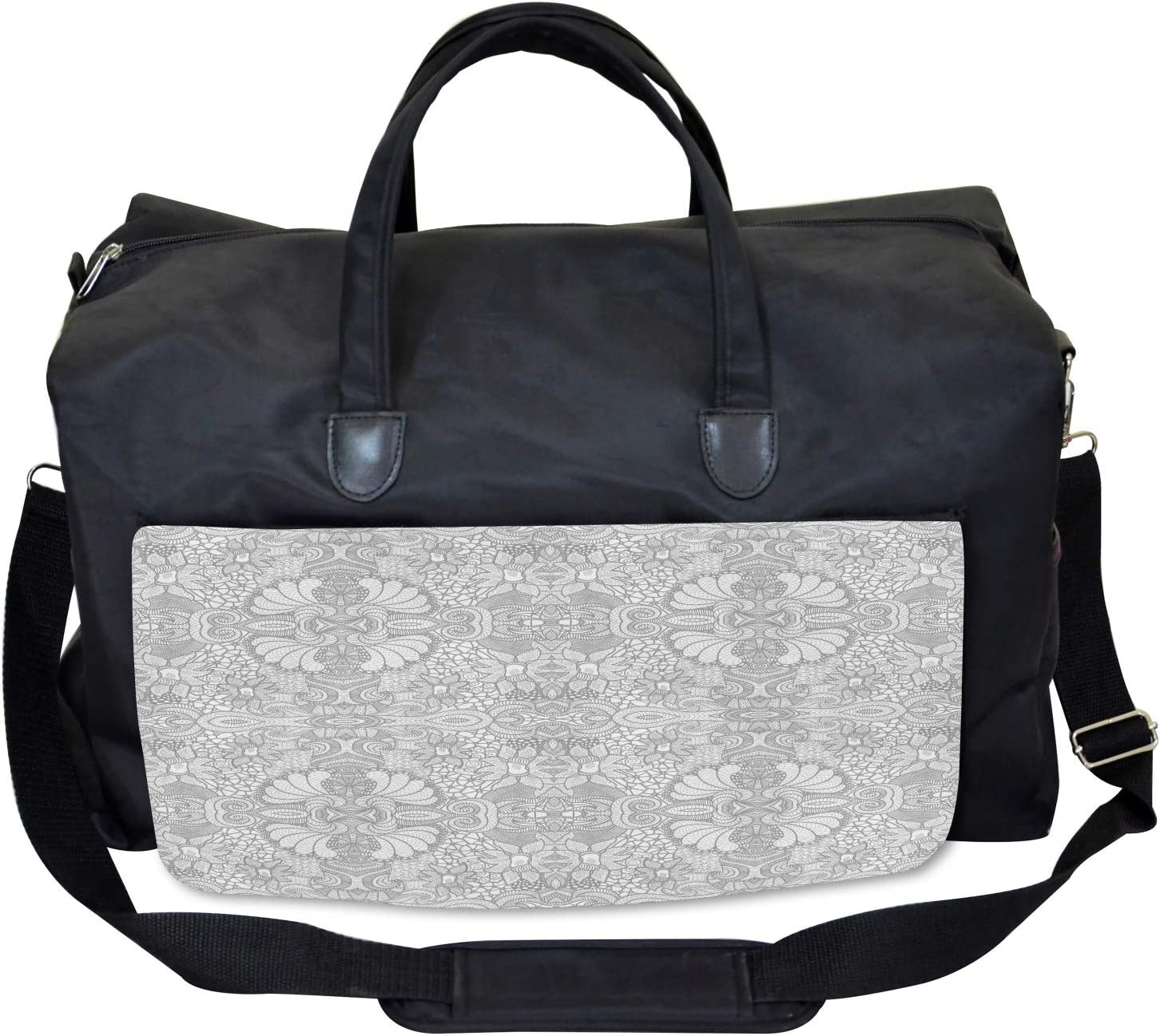 Large Weekender Carry-on Floral Paisley Lace Like Ambesonne Asian Gym Bag