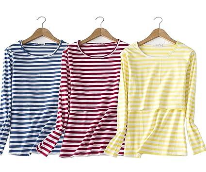 b1d7b476bb0 Womens Long Sleeves Striped Nursing Tops/Round Neck Blouses Cute Breastfeeding  Shirts/Tshirts