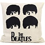 FastEngle Cotton Linen Decorative Pillowcase Throw Pillow Cushion Cover the Beatles Head Square 18""