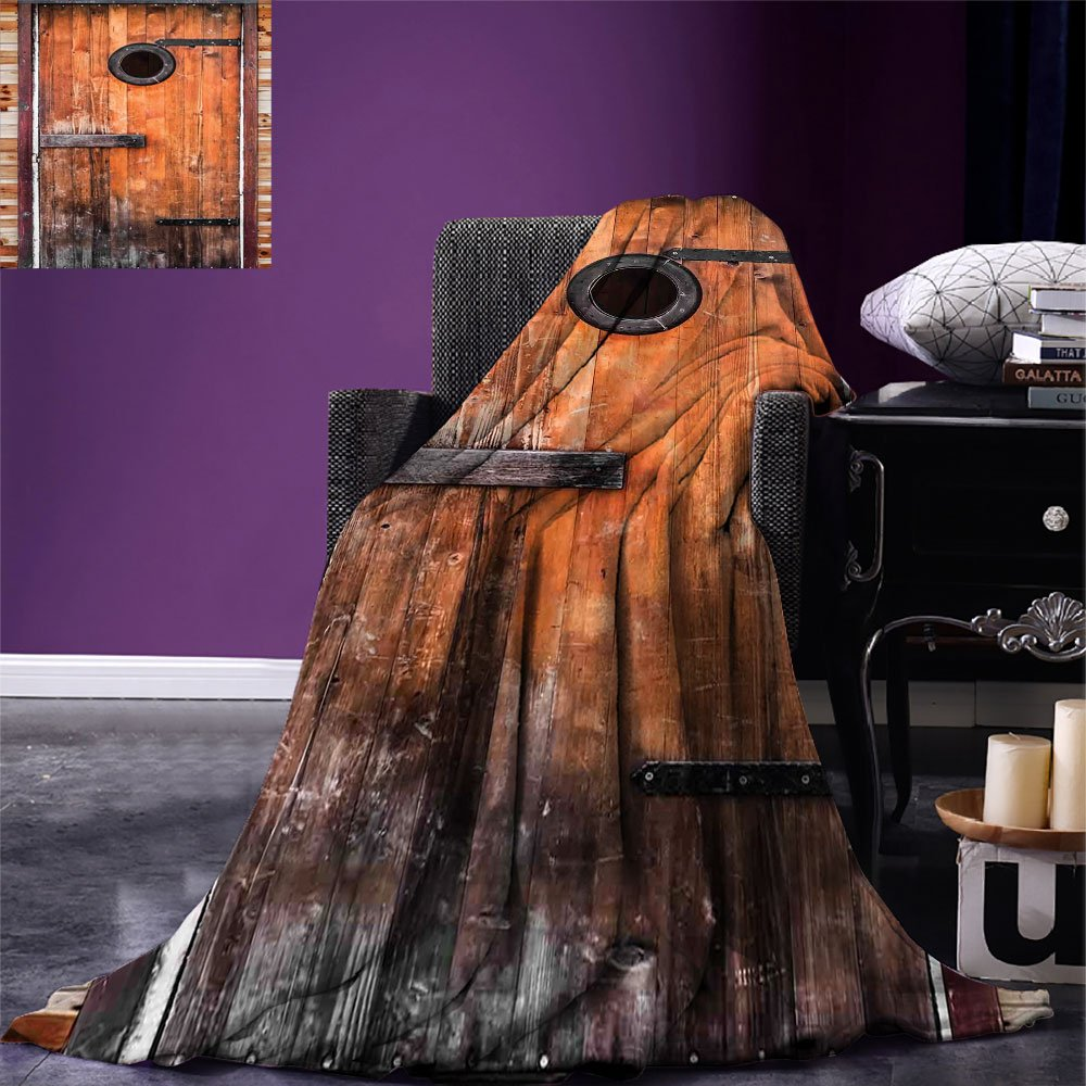 smallbeefly Rustic Digital Printing Blanket Photograph of Antique Knotted Pine Wood with Control Window Lumber Nature Design Summer Quilt Comforter Caramel Brown