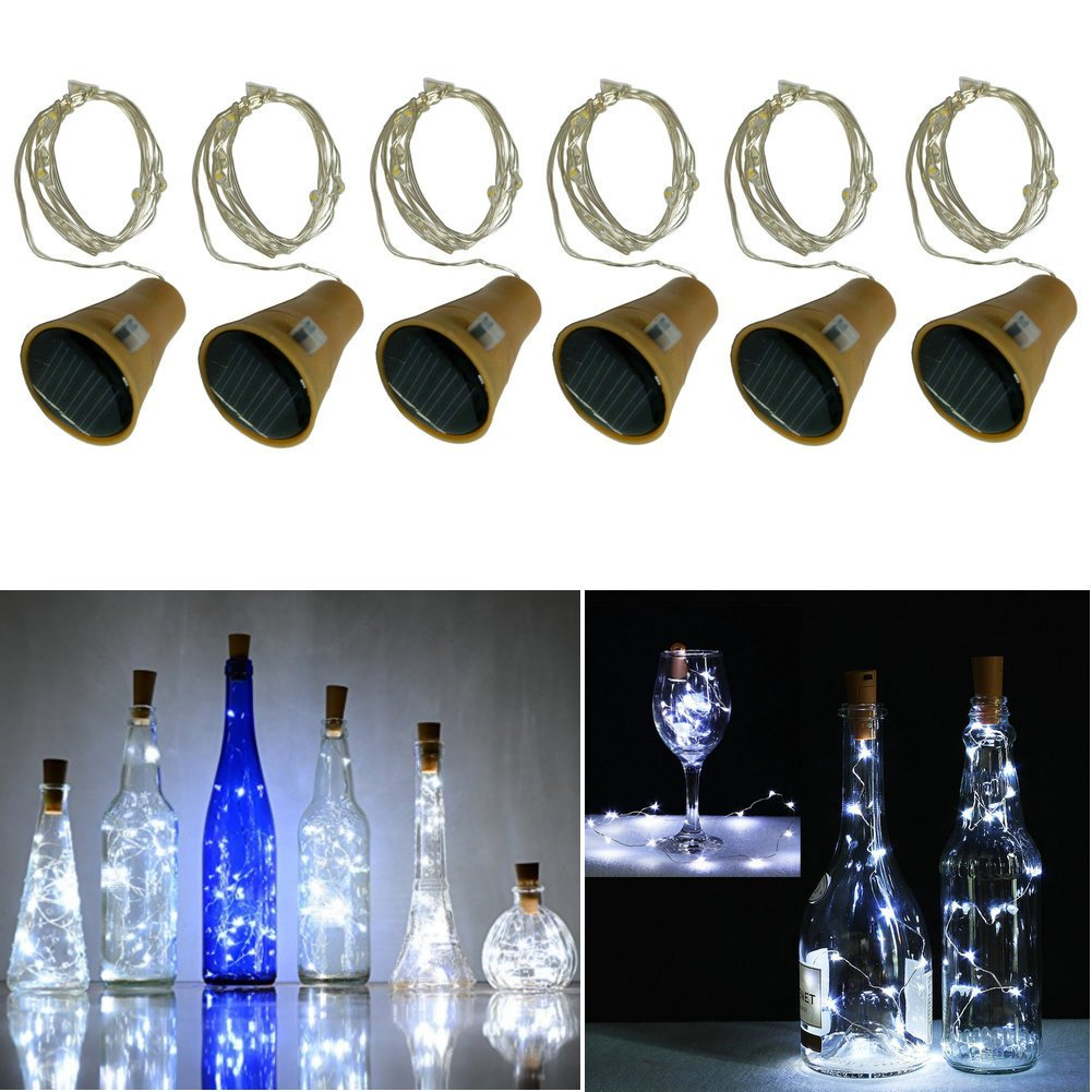 10 LED Bulbs Cork Bottle Lights Solar Powered 39 Inch/10 LED String Wine Cork Fairy Lights for Christmas, Wedding, Dance, Halloween, Party, Festival, Green plant Decor (6, Cool white)
