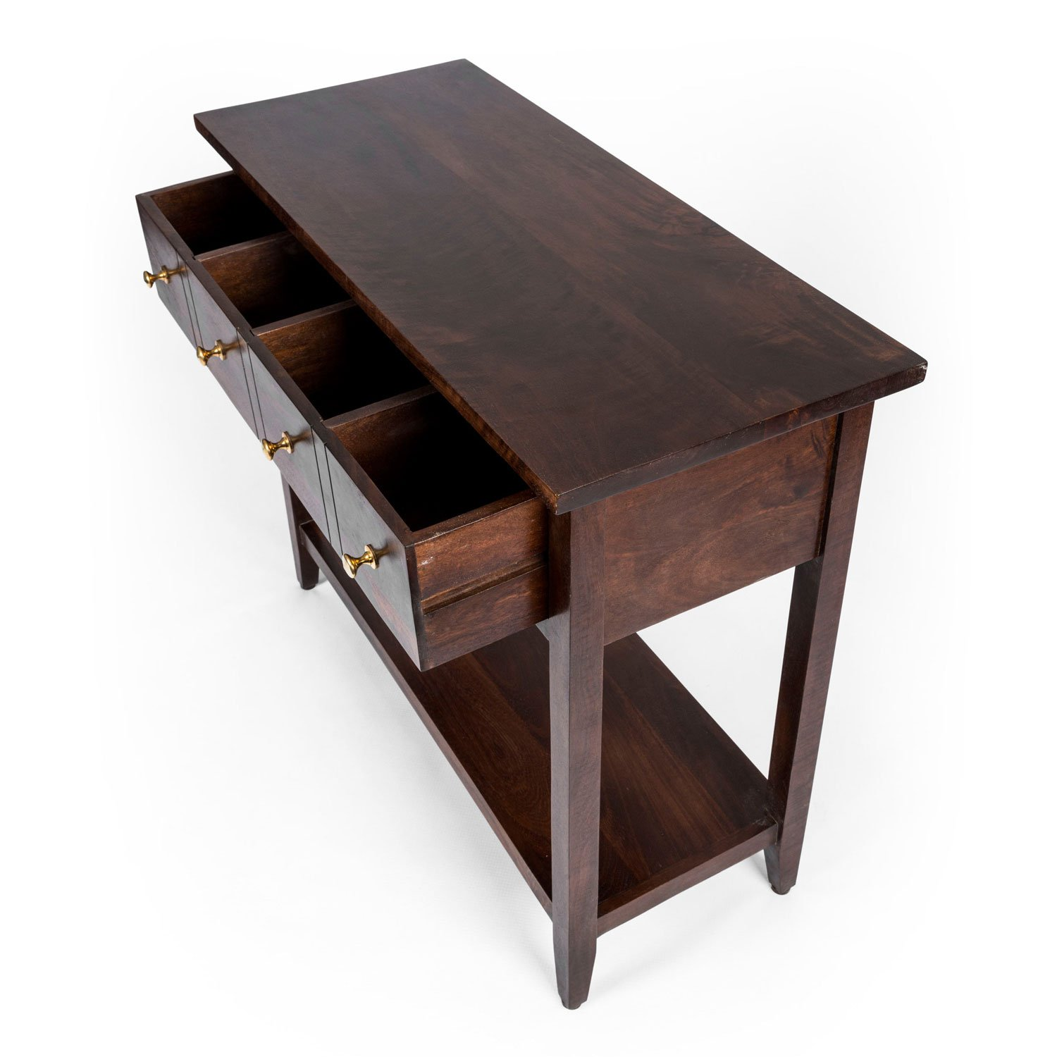 Homescapes Groove Dark Solid Mango Wood Console Table with Drawers