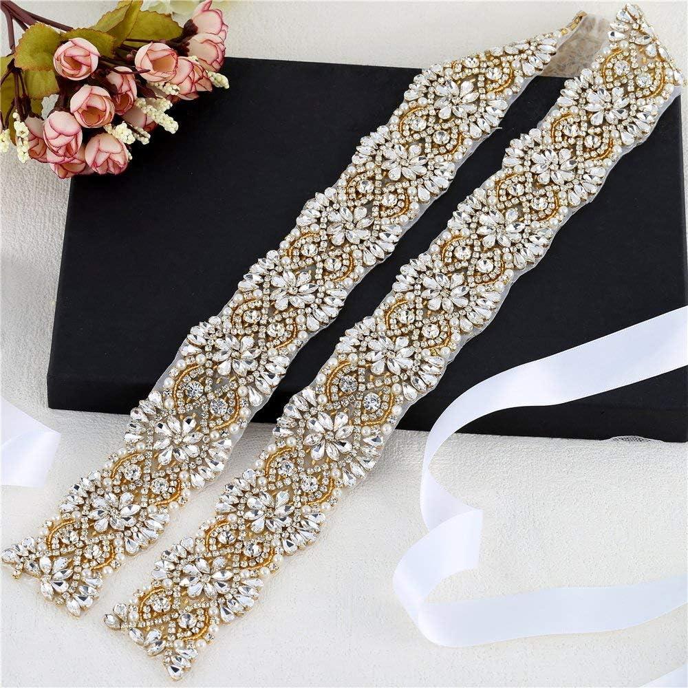Handmade Luxury Crystal Bridal Sash Embellished Rhinestone Wedding Dress Belts