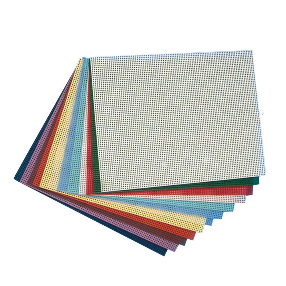 Plastic Canvas Sheets 10-1/2''x13-1/2'' - Assorted (Pack of 12) by S&S Worldwide