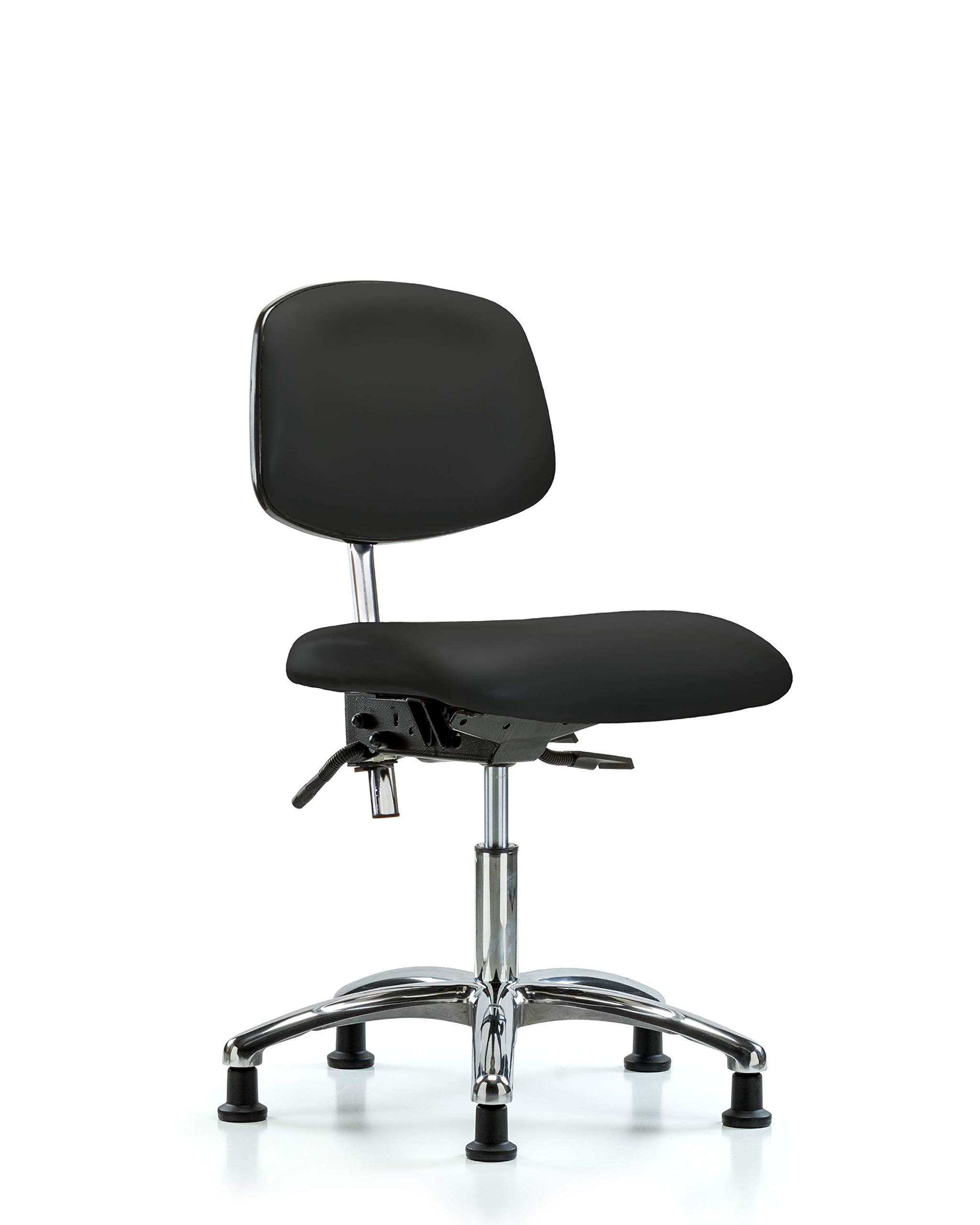 LabTech Seating LT42967 Class 100 Clean Room Vinyl Desk Height Chair Chrome Base, Tilt, Glides, Black