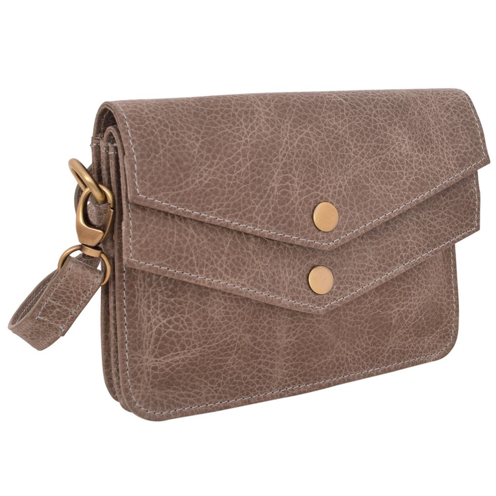 Latico Leathers Harper Cross Body Bag Genuine Authentic Luxury Leather, Designer Made, Business Fashion and Casual Wear, Pebble Steel