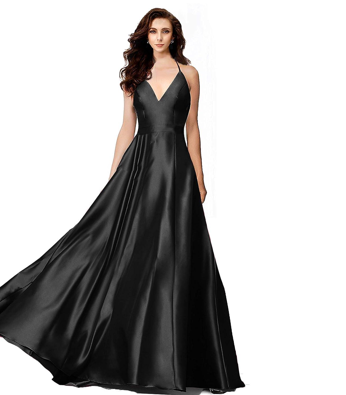 Black Night Glamour Women's Deep VNeck Satin Bridesmaid Dress Long Party Prom Aline Evening Dress Sleeveless with Pockets