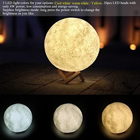 Fornorm Night Light 3D Printing Moon Lamp Rechargeable Night Light, Dimmable Touch Control Brightness Two