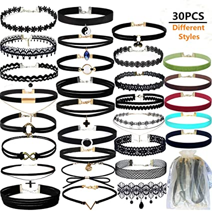 Pack of 22 Pcs 22 Pcs Black Choker Necklaces Set Womens Velvet Choker Set Classic with Lace Tattoo Charm Girls Stretch Necklace