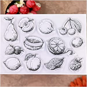 KWELLAM Fruit Pear Cherry Apple Lemon Strawberry Clear Stamps for Card Making Decoration and DIY Scrapbooking