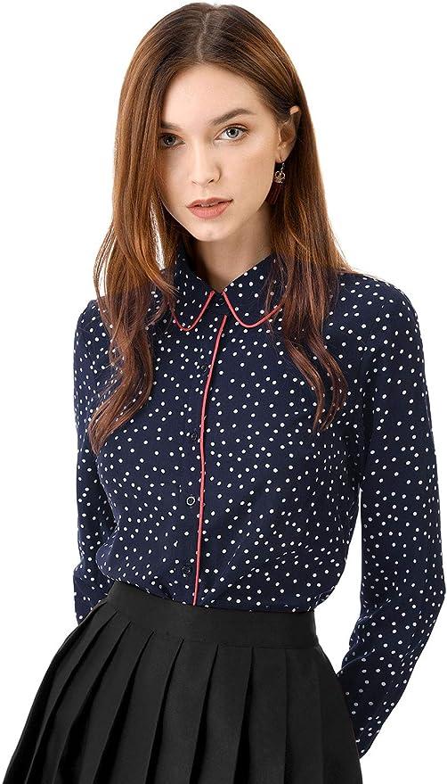 Allegra K Camisa Lunares con Botones De Manga Larga para Mujer: Amazon.es: Ropa y accesorios