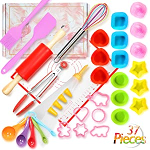 Shacoryze Kids Cooking and Baking Set 37 Pcs with Gift Box, Real Kitchen Utensils Kit for Toddlers Teens, Gift for Girls&Boys, Nonstick Rolling Pin Silicone Pastry Mat Cupcake Molds