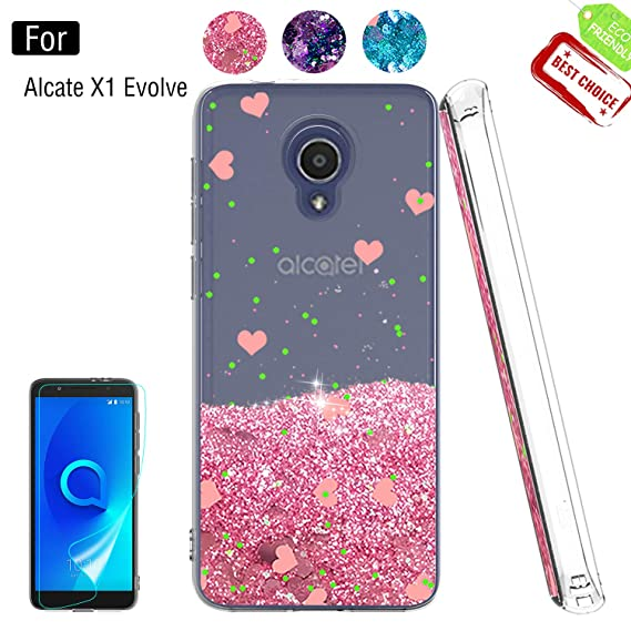 new style 40f15 e48f1 Alcatel 1X Evolve Phone Case,Alcatel 1X Evolve Cases with HD Screen  Protector for Girls Women, Luxury Glitter Diamond Quicksand Clear TPU  Protective ...