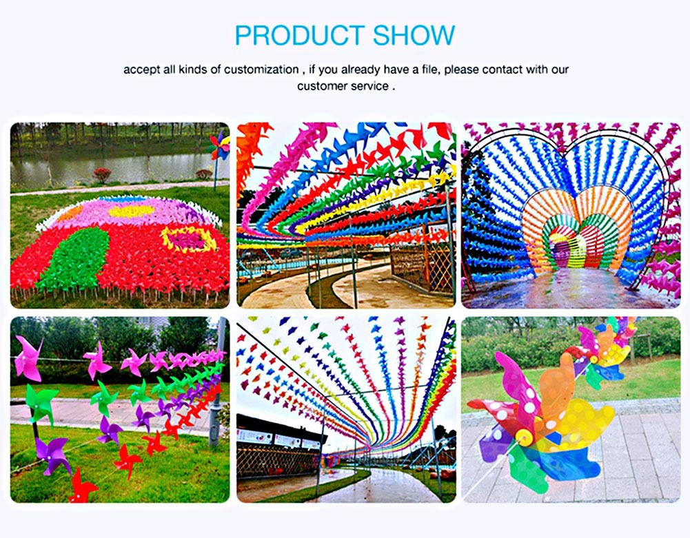 Pack of 100 GeniusCells 9.5 Rainbow Plastic Wind Spinners Outdoor Hanging Yard Decorations Pinwheels Lawn Ornaments DIY Windmill Waterproof Patio Kinetic Art Garden Decor