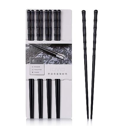 Leaptech Palillos japoneses 5 Pares de Palillos de aleación Palillos Reutilizables Lavables para lavavajillas 24.3 Cm Negro (Bambú)