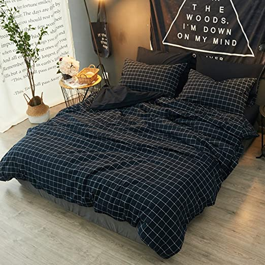 Amazon.com: mixinni Blue Duvet Cover Set Queen 3 Piece Hotel Luxury Hypoallergenic Cotton Comforter Quilt Bedding Cover with Zipper Closure Corner Ties ...