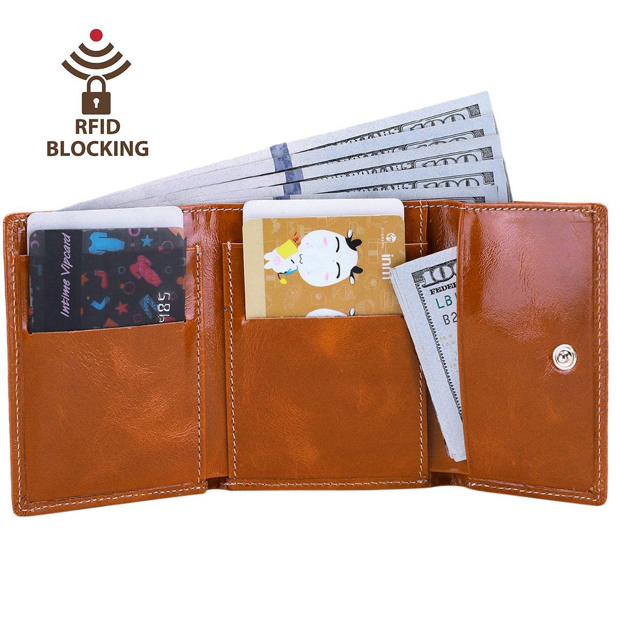 Itslife Slim Minimalist Front Pocket RFID Blocking Leather Wallets for Women (Tan)