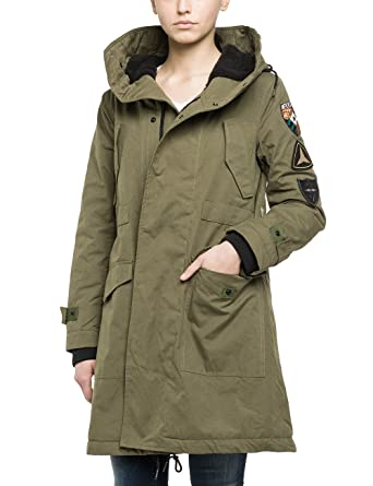 official photos fe160 484ee Replay Women's Mantel Coat, Grün (Army Green 334), 10 ...