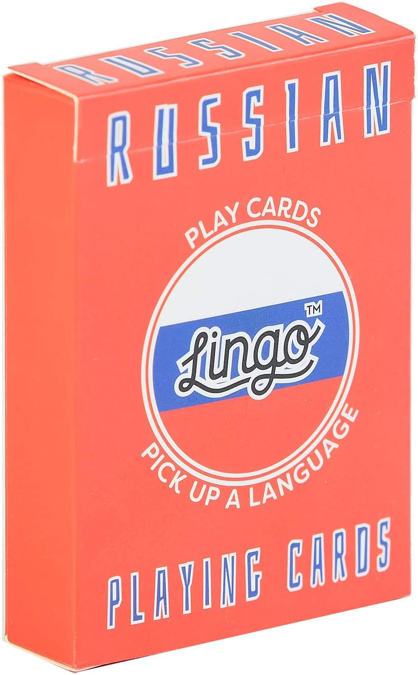 Lingo Playing Cards 54 Useful Phrases Language Learning Game Set Fun Visual Flashcard Deck to Increase Vocabulary and Pronunciation Skills