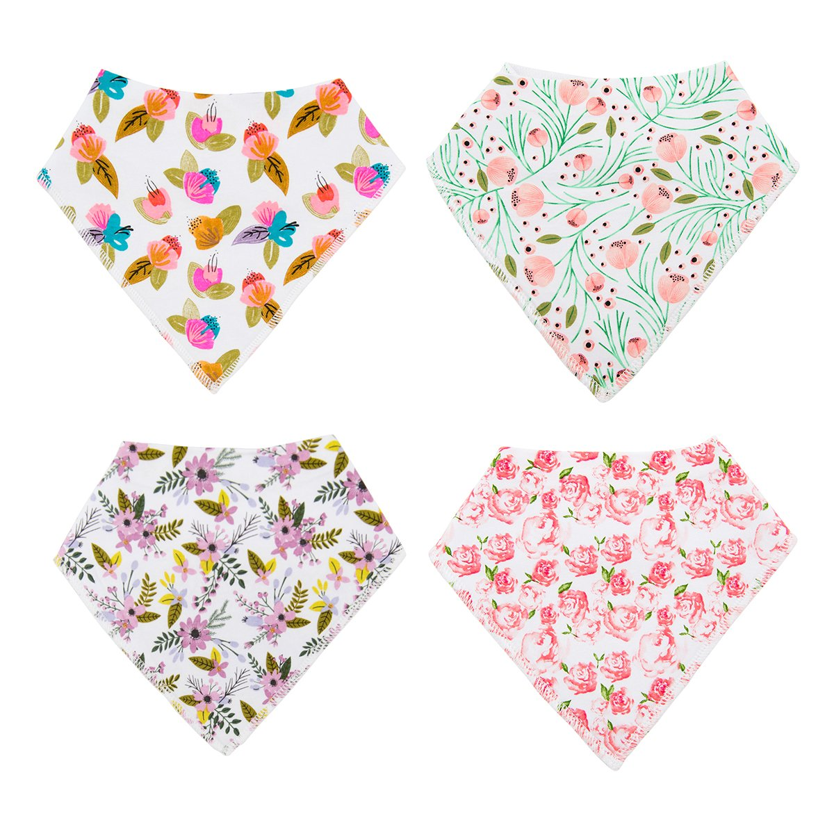 10 PACK ALVABABY Bandana Drool Bibs for Girls 100/% Cotton Resuable Adjustable Absorbent Baby Gift Sets 10SD02