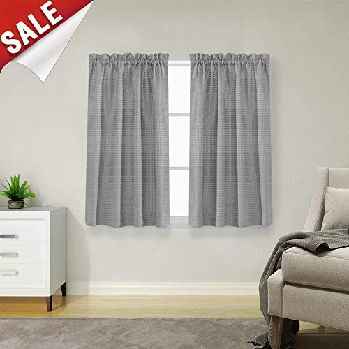 Waffle Weave Half Window Curtains For Kitchen/Bathroom Window Treatment  Tiers Set (72